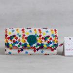 พร้อมส่งค่ะ งามมากๆ 2015 100% Authentic Kipling 3 Folds Long Wallet ลายดาวหลากสี