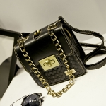 [Preorder] กระเป๋าสะพายข้างใบเล็ก สไตล์วินเทจเก๋ไก๋ สีดำ Chain bag small fragrant wind female 2015 spring and summer fashion retro small square bag woven bag diagonal chain bags