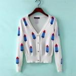 เสื้อคลุมลายไอติม Freesize อก 32-34 นิ้ว ยาว 22-23 นิ้ว สี:ขาว