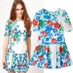 [Preorder] เดรสแฟชั่นแขนสั้นสไตล์ยุโรปแบรนด์ ASOS ลายดอกไม้ (ไซส์ S M L) 2014 summer new European style Asos printed short-sleeved dress with paragraph plants skirt skirt children