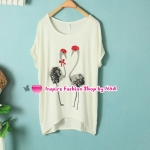 เสื้อยืดแขนสั้นสีขาวลายนกคู่ Summer female Korean fashion sweet Figure round neck loose wild casual T shirt wild in the long T-shirt