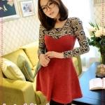 เดรสแขนยาวแฟชั่นสีแดง JackGrace aesthetic ~ lace stitching umbrella skirt knitting