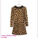 เดรสแฟชั่นแขนยาวลายเสือดาวสีน้ำตาล 2012 Women's New Europe and the United States retro leopard lapel personal long dress