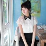 Pink Show เสื้อผ้าแฟชั่นเกาหลี แขนตุ๊กตาสีขาว