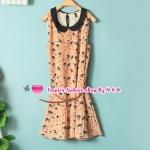 เดรสแขนกุดสกรีนลายสีส้ม Spring and summer women fashion in Europe and America sweet doll collar swallow printing belt Slim temperament dress