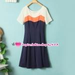 เดรสแขนสั้นสีส้ม Spring and summer new female fashion Korean mixed colors short sleeve Slim temperament dress round neck the swallowtail skirt dress