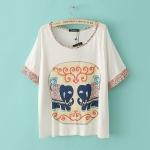 [Preorder] เสื้อแฟชั่นแขนสั้นสกรีนลายช้างคู่น่ารัก 2013 New elephant pattern lace stitching round neck short sleeve loose T-shirt