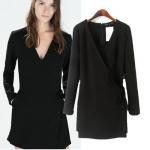 [Preorder] จั๊มสูทแฟชั่นแขนยาวสไตล์ยุโรป คอวี สีดำ (ไซส์ S M L) Women's 2014 autumn new European style fashion ladies casual long-sleeved V-neck piece pants patch