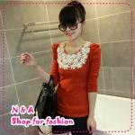 เสื้อแขนยาวแฟชั่นสีส้ม paragraph pearl embellishment flowers round neck long-sleeve