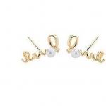 ตุ้มหูแฟชั่นเกาหลี Bohemia Lovely lady twisted pearl diamond earrings