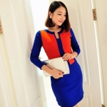 [Preorder] เดรสทำงานแฟชั่นแขนยาวสำหรับสาวไซส์เล็ก (ไซส์ S และไซส์ M) สีแดงน้ำเงิน 2013 Hitz Korean Women Slim hit the color long-sleeved dress temperament