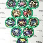 เหรียญ DX Yo-Kai Watch สีเขียว Set 11 เหรียญ ไม่ซ้ำแบบ มือสอง