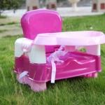 สีชมพู เก้าอี้ทานข้าว วัสดุคุณภาพดี ใช้ได้ถึง 4 ปี ทำความสะอาดง่าย พกพาไปทานข้าวนอกบ้าน ไม่ต้องง้อเก้าอี้เด็กร้านอาหาร