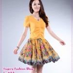 [Preorder] เดรสทำงาน (เดรสออกงาน) แฟชั่นกระโปรงลายดอกไม้สีเหลือง Korean version of the Slim thin knitted lace floral dress summer new short-sleeved dress V-neck