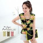 [Preorder] เสื้อแฟชั่นแขนกุดสีเรืองแสงลายดอกไม้ สีดำ Fluorescent flowers cotton vest