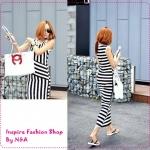 เดรสยาวแขนกุดลายขวาง Korean pop irregular striped dress