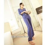 [Preorder] จั๊มสูทแฟชั่นแขนสามส่วนขายาวพร้อมเข็มขัดเก๋ๆ สีม่วง Jingjing home 2013 spring new Korean women summer in the sleeve piece pants jumpsuit (Belt)
