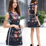 Mini Dress ทรงแขนกุด แต่งลายคู่รักนกฮูกหวานแหวว ในโทนผ้าสีดำ