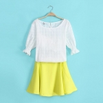 [Preorder] เซ็ทเสื้อแขนสามส่วน + กระโปรงสั้นสีเหลือง (Size S M L XL) The new Europe summer 2014 catwalk station fluorescent yellow cotton shirt + shorts skirt wrapped chest leisure suits