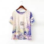 [Preorder] เสื้อยืดแขนสั้นสกรีนลายเก๋ๆ สีหวานสดใส (ไซส์ S M L) MICN 2015 summer new European style fashion ladies getting dyed daisies printed short-sleeved T-shirt shirt female