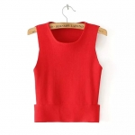[Preorder] เสื้อแฟชั่นแขนกุดสีสดใส สีแดง Europe station 2015 autumn new women openwork hem sleeveless sweater vest bottoming shirt casual shirt female