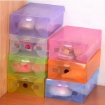 [Proorder] กล่องใส่รองเท้าสีสันสดใสคละสี (50 กล่อง/แพ็ค) Transparent shoe box / PP plastic shoe box / crystal clear color shoe box / plastic storage box PP storage box