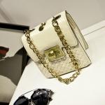 [Preorder] กระเป๋าสะพายข้างใบเล็ก สไตล์วินเทจเก๋ไก๋ สีขาว Chain bag small fragrant wind female 2015 spring and summer fashion retro small square bag woven bag diagonal chain bags