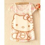 [Preorder] เสื้อแฟชั่นแขนสั้นสกรีนลายเก๋ๆ ลายแมวเหมียวคิตตี้ 2013 Korean version of the first new women bat shirt loose T-shirt many color patterns
