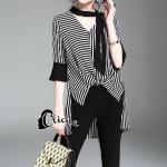 ชุดเซ็ท เสื้อแขนยาวายริ้วสีขาวดำ+กางเกง
