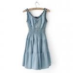[Preorder] เดรสยีนส์แฟชั่นแขนกุดสม็อคใต้หน้าอก สีฟ้า 2013 spring new female fashion Slim elastic waist denim sleeveless vest dress