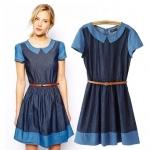 [Preorder] เดรสยีนส์แฟชั่นกระโปรงบานสไตล์ยุโรป สีน้ำเงินฟ้า (ไซส์ M L) ASOS MICN women's 2014 summer new doll collar belt spell color short-sleeved denim dress models female