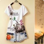 [Preorder] เสื้อยืดแฟชั่นแขนสั้นสกรีนลายดอกไม้สีสวยสดใส 2013 summer fashion summer new Korean national flower institute wind short-sleeved T-shirt