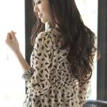 [Preorder] เดรสแฟชั่นแขนสามส่วนลายเสือดาวสีเบจ 2012 summer new women flouncing aesthetic temperament sleeve leopard chiffon jumpsuit summer skirt female