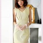 เดรสแฟชั่นแขนกุดสีเบจ temperament edge of the crimp shoulder beaded waist dress