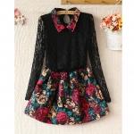 [Preorder] เดรสแฟชั่นแขนยาวผ้าลูกไม้กระโปรงลายดอกไม้ 2013 autumn new Korean version of women doll collar pu leather lace shirt printing woolen dress