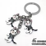 พวงกุญแจเหล็กแมวจี้ ท่ายืน