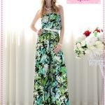 [Preorder] จั๊มสูทเกาะอกขายาวสกรีนลายสีเขียวฟ้า The new green flower print Bra loose women piece wide leg trousers