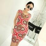 [Preorder] เดรสทำงานแฟชั่นแขนกุด ลาย polygonal สีบานเย็น 2013 summer new Korean Women stretch pocket retro suit short-sleeved dress