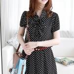 [Preorder] เดรสแฟชั่นคุณหนูแขนสั้นลายจุด สีดำ Korea purchasing ladies sweet Korean Shuiyu bandage bow tie small breasted dress (two-color)