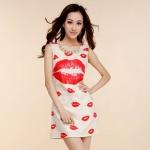[Preorder] เดรสแฟชั่นแขนกุด สกรีนลายจูบสีแดง + สร้อยคอไข่มุกและเพชรเทียม 2013 spring and summer VIVI nail baht lips skirt vest dress