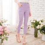 [Preorder] กางเกงขายาวแฟชั่นเข้ารูป ประดับลายปักดอกไม้เก๋ๆ แบรนด์ YOCO สีม่วง Decorated with crocheted lace nine narrow pants