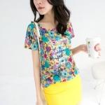 [Preorder] เสื้อแฟชั่นแขนสั้นลายดอกไม้ แบรนด์ Tokyo Fashion สีเหลือง Long letters painted flowers cotton