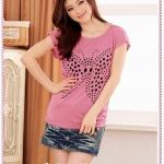 เสื้อยืดแขนสั้นปักผีเสื้อเป็นรูสีชมพู features hollow butterfly dish casual cotton T knit tops