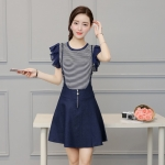[Preordre] เดรสเอี๊ยมยีนส์แฟชั่นแขนสั้นกระโปรงบาน (ไซส์ M L XL)2016 summer new denim dress two-piece female Korean wild was thin strap suit