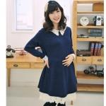 [Preorder] ชุดคลุมท้องคุณแม่แขนยาวประดับลายปักที่ปกเสื้อ สีน้ำเงิน 2013 in elegant Korean Maternity pregnant women dress dark blue lace collar spring and models of pregnant women skirt