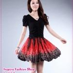 [Preorder] เดรสทำงาน (เดรสออกงาน) แฟชั่นกระโปรงลายดอกไม้สีดำ Korean version of the Slim thin knitted lace floral dress summer new short-sleeved dress V-neck