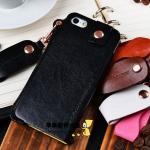 เคสหนังพร้อมสายห้อย iphone4/4s สีดำ