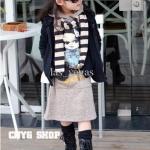 Size 5>> เดรสตัวยาวสีเทา มีฮู้ดด้านหลัง สกรีนลายเด็กน้อย