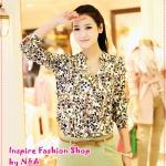 เสื้อเชิ๊ตแฟชั่นแขนยาวสกรีนลายหัวใจสีเขียว 2012 spring and summer burst models in Europe and America hearts V neck chiffon silk shirt summer yards
