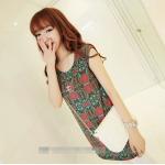 [Preorder] เดรสทำงานแฟชั่นแขนกุด ลาย gear pattern สีชมพู 2013 summer new Korean Women stretch pocket retro suit short-sleeved dress